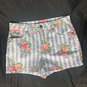 "BDG High-Rise Pinstripe & Floral ""Erin"" Shorts"